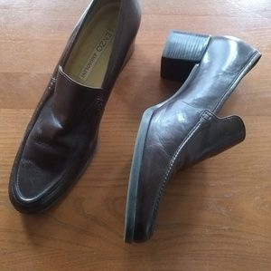 Enzo Angiolini Brown Leather Slip On Loafers
